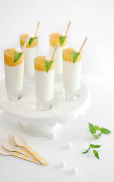 cream panna, sprinkl bake, sweet treats, drink, peach