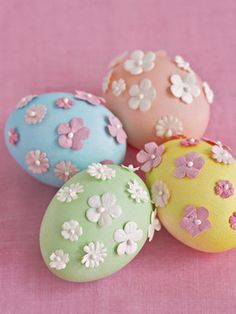 Easter Crafts and Egg Decorating Ideas - DIY Easter Projects. Make these pastel beauties last for years by first blowing out the egg's whites and yolks.    - Country Living Scrapbooking flowers, glue.
