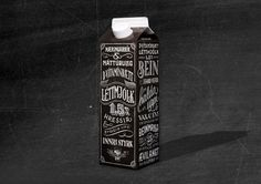 Ennemmdesigned the packaging for theMjólkursamsalan Dairy in Iceland. A  black background highlights the white type, color-coded to match the  beverage contained within. The overall layout gives the brand an  exclusivity and uniqueness that cannot be commonly found with other brands  that tend to gravitate toward a minimal or illustrative aesthetic.