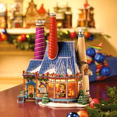 """Department 56: Products - """"North Pole Porcelain Building Works"""" - View Lighted Buildings"""