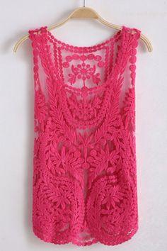 Oasap Sleeveless Round Neck Crocheted Lace Vest