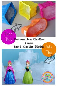 frozen ice castles from sand castle molds = clever! we don't have to throw our beach toys away...they can be used in the snow!!
