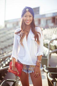 classic: white shirt and denim shorts