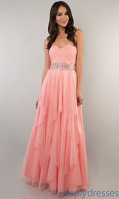 Coral Pink Glitter Mesh Strapless Dress by Bee Darlin at SimplyDresses.com