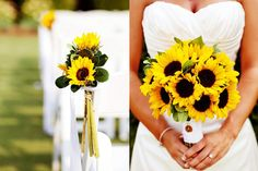 If the wedding is in fall I could see having a sunflower bouquet.  Might want fake flours so that I didn't have to worry about them randomly dying on me or having to remember to pick them up beforehand.