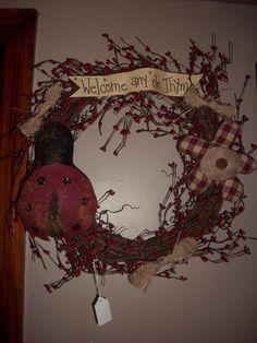 bug wreath, wreath busi, ladi bugherbi