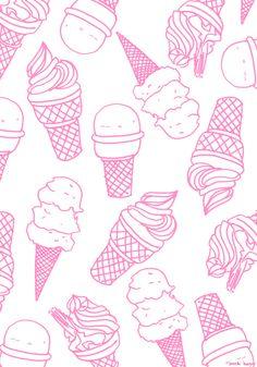ice cream social, icecream cone, pink icecream, icecream illustration, ice cream pattern