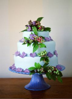 3-tiered cake adorned with hydrangea and blueberry blueberri, wedding designs, flower cakes, theme cakes, cake decorations, cake stands, flower power, wedding cakes, blue cakes