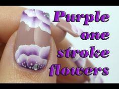 Romantic One Stroke Floral Nails - Purple Nail Art Flower Manicure Tutorial | Lucy's Stash