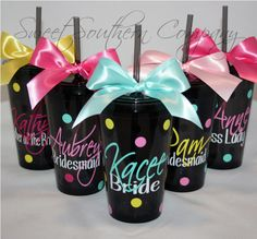 9 Personalized Bride and Bridesmaids 16 oz by SweetSouthernCompany