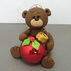 Teddy Bear polymer clay Christmas Ornament by clayinaround on Etsy