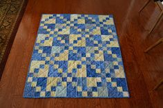 Cute baby boy quilt - Double 4 Patch