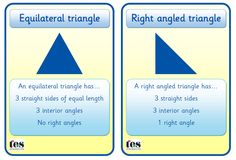 Clear cards for 8 2D shapes - circle, square, rectangle, equilateral triangle, right angled triangle, pentagon, hexagon and octagon. Each card contains information on number of sides/right angles/interior angles. Pitched at a low level but could be used as discussion starters to investigate further properties of each shape included
