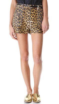 phillip lim leopard shorts