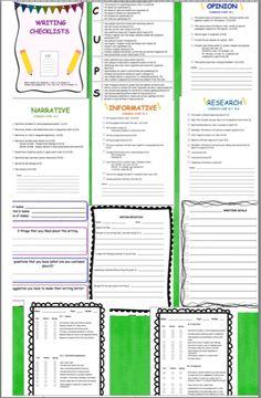 Common core writing checklists