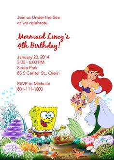 Little Mermaid and Sponge Bob Birthday Invitation