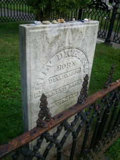 Grave of Emily Dickinson in Amherst, Massachusetts.