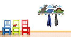 What greater idea than to optimize your space with tasteful design? Checkout our brand new cute dino coat rack: a smart combo between a removable wall sticker and a coat rack which includes real hooks to hang your kid's clothes. Select from 1 to 4 pairs of hooks on this creative removable wall art!