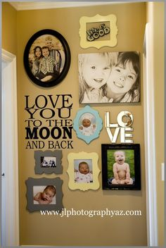 gallery wall at end of hallway, don't like this specific layout, but love the idea