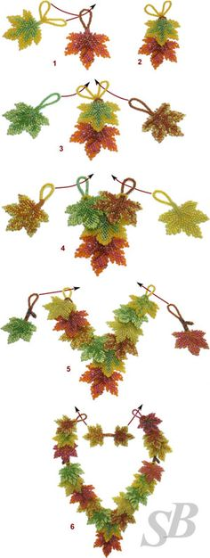 Beaded leaves Schemas - Translate.  #Seed #Bead #Tutorials