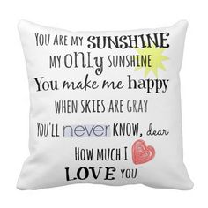 You are my Sunshine Word Art Typography Pillow #pillows #quotes #quotelife
