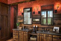 Inspiring Bathroom Designs for Your Next Renovation: Surprising Ultra Rustic Bathroom Design With Red Walls And Wooden Cabinets ~ Treeinggear Bathrooms Inspiration
