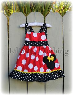 Custom Boutique Clothing Red White Dot  Yellow Minnie Mouse Halter Dress Disney on Etsy, $44.00