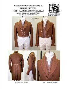 Pattern # 121 - Regency Men's Tailcoat Pattern