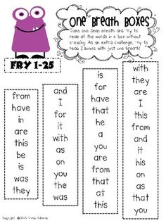 Free! Reading Fluency One Breath Boxes - Fry Words 1-50