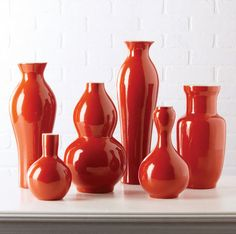 Vases, Beautiful Set of Persimmon Porcelain Flower Vases, one of over 3,000 limited production interior design inspirations inc, furniture, lighting, mirrors, home accents, accessories, decor and gift ideas to enjoy repin and share at InStyle Decor Beverly Hills Hollywood Luxury Home Decor enjoy & happy pinning
