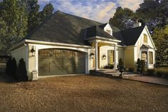 Painted Clopay Reserve Collection wood carriage house garage door. www.clopaydoor.com