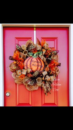 "Fall Pumpkin ""Harvest Blessing"" Burlap Mesh Wreath"
