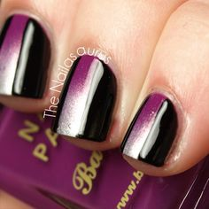 LOVE~LOVE this beautiful mani..the all black with purple blocking down the middle..via The Nailasaurus   UK Nail Art Blog ღ❤ღ