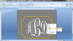 How to make MonoGram labels in MS Word. I just sat here and did it and its really easy once you figure it out!! I loved it:)