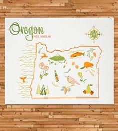 Vintage-Inspired Oregon Map Print | Art Prints | Paper Parasol Press | Scoutmob Shoppe | Product Detail