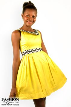 Ekwaiba Colors Yellow Skater Dress - FashionGHANA.com (100% African Fashion)