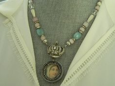 Rhinestone Crown and Virgin Mary Assemblage Necklace by 58Diamond, $85.00