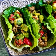 chile, avocado salsa, tacos, healthy dinners, lettuce, lettuc wrap, lime, ground turkey, south beach