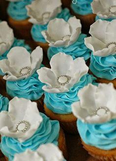 Tiffany blue wedding cupcakes.