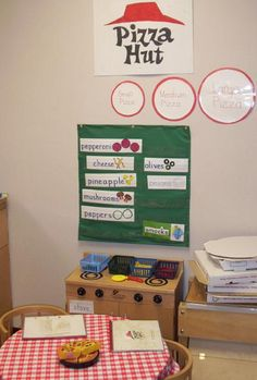 During the winter months, I set up a Pizza Hut. You can get empty boxes, cups and pizza rounds from your local restaurant. I have even gotten some old menus. The kids can make up the pizzas using felt pieces to fill the orders. I found it has helped the children a lot in their writing to have the ingredients listed in the pocket chart. The wait is long to get into this popular restaurant!