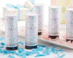 """""""Oh, Baby!"""" Gender Reveal Party Popper (Pink or Blue) (Set of 12) from Kate Aspen"""