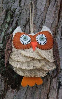 Cute little burlap owl