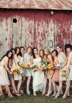 Mixed matched bridesmaids | photo by Paige Newton | 100 Layer Cake