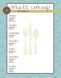 Darling Stampin' Up! Menu Planner with FHE Treat marked on Monday nights. So fun!