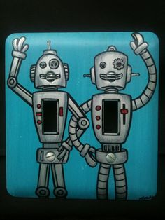 Double Robot Light Switch Plate by natalierobots on Etsy, $35.00  For the boys' room...