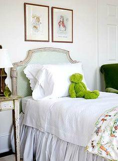 headboard, bedskirt- girls room