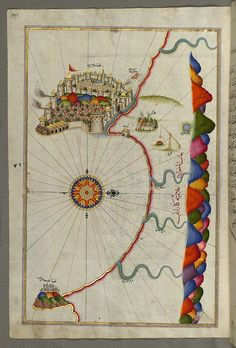 Illuminated Manuscript, Map of the fortress of Alanya (ʿAlāʾiye, Alaiye) (Turkey) from Book on Navigation, Walters Art Museum Ms. W.658, fol. 329a