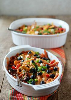 Veggie-Filled Enchilada Pasta Bake (with Optional Ground Beef).  Recipe from @kitchentreaty
