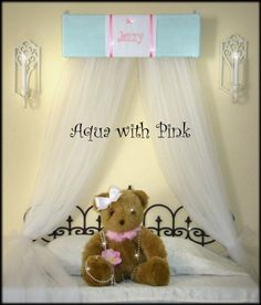 Princess FrEe Embroidered Personalized Monogram Bed CROWN Canopy Aqua Blue Pink