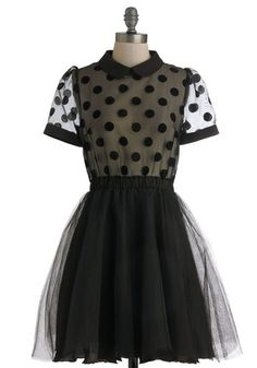Adorable sheer polka dotted dress with tulle bottom